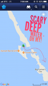 funny map about scary deep water near Farmers Cay Exuma